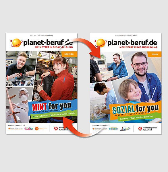 """Cover des Wendehefts """"MINT & Sozial for you 2018"""""""